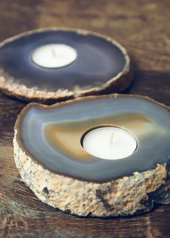 Natural agate candle holders by SoulMakes