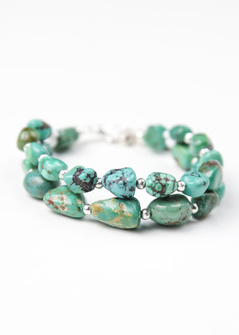Bohemian bracelet with green turquoise beads by SoulMakes