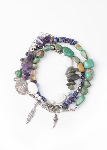Image of multi semi-precious stone wrap bracelet by SoulMakes