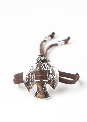 Brown leather bracelet with thunderbird concho cuff by SoulMakes