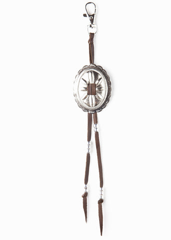 Brown leather concho western style keychain by SoulMakes