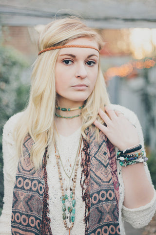 picture of bohemian girl wearing headband and jewelry by SoulMakes