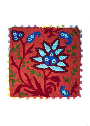 Suzani embroidered red and blue square cushion cover by SoulMakes