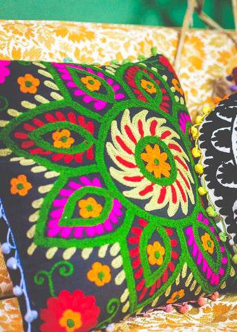 Suzani embroidered black and multicolor square cushion cover by SoulMakes