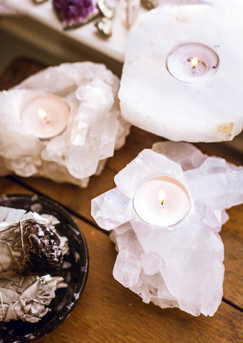 Natural quartz crystal tealight candle holders by SoulMakes