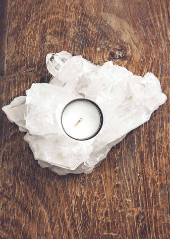 Natural quartz cluster crystal candle holder by SoulMakes