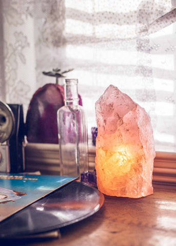 Natural rough rose quartz crystal lamp by SoulMakes