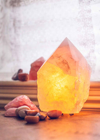 Natural rose quartz point crystal lamp by SoulMakes