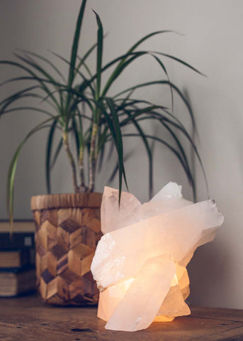 Natural glowing clear quartz cluster crystal lamp by SoulMakes 6