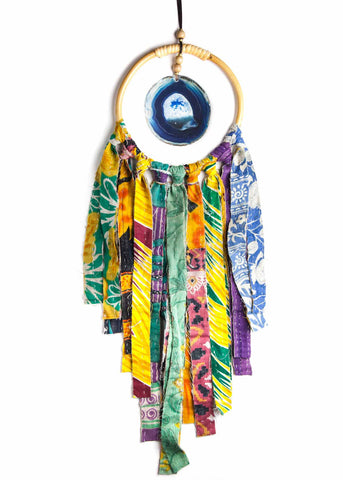 Hanging blue agate crystal in hoop with colorful vintage kantha fringe by SoulMakes