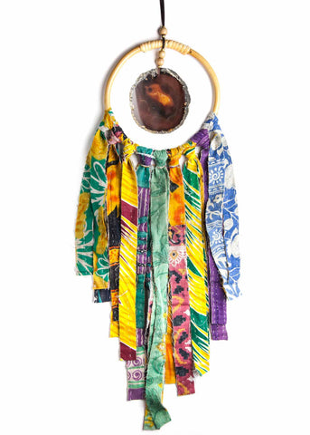 Hanging natural agate crystal in hoop with colorful vintage kantha fringe by SoulMakes
