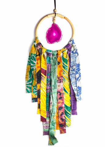 Hanging pink agate crystal in hoop with colorful vintage kantha fringe by SoulMakes