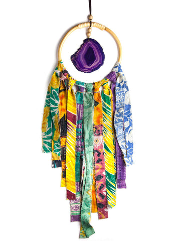 Hanging agate crystal in hoop with colorful vintage kantha fringe by SoulMakes