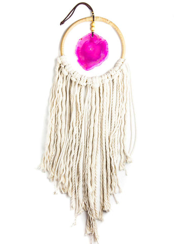 Hanging pink agate crystal in hoop with white rope fringe by SoulMakes