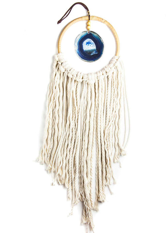 Hanging blue agate crystal in hoop with white rope fringe by SoulMakes