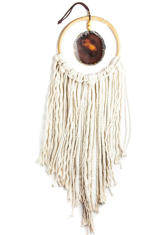 Hanging natural agate crystal in hoop with white rope fringe by SoulMakes