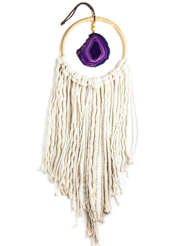 Hanging purple agate crystal in hoop with white rope fringe by SoulMakes