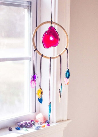 Multi color agate crystal wall hanging by SoulMakes