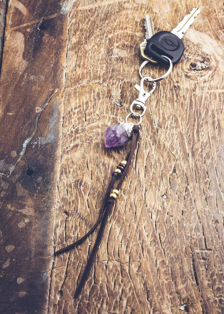 Leather keychain with amethyst crystal charm by SoulMakes