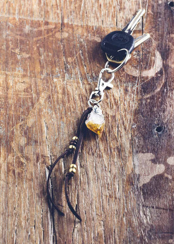 Leather keychain with citrine crystal charm by SoulMakes