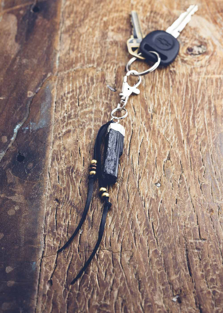 Leather keychain with black tourmaline crystal charm by SoulMakes