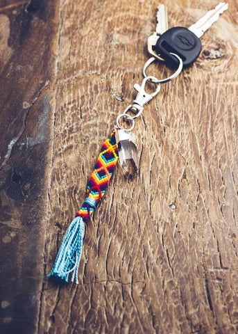 Keychain with woven tassel and quartz crystal by SoulMakes