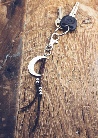 Keychain with crescent moon charm and leather by SoulMakes