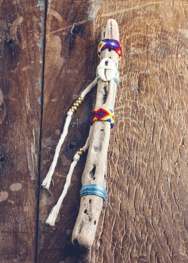 Festival gypsy wand driftwood stock with shell by SoulMakes
