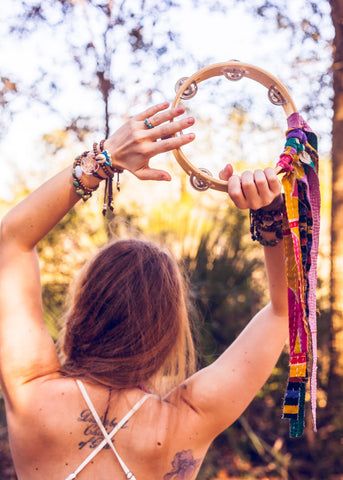 Bohemian festival girl with tambourine with colorful fringe by SoulMakes