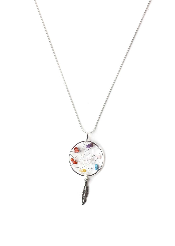 Multi color crystal dreamcatcher pendant chain necklace by SoulMakes