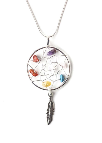 Multi color crystal dreamcatcher pendant by SoulMakes