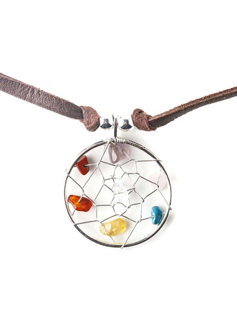 Multi color crystal dreamcatcher pendant necklace by SoulMakes