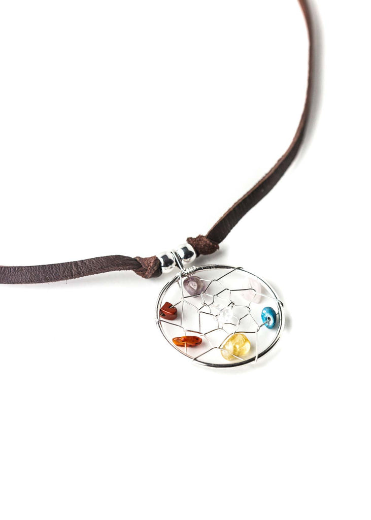 Multi crystal dreamcatcher pendant leather necklace choker by SoulMakes