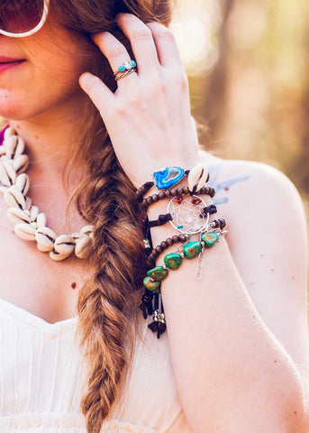 Bohemian festival girl with stacked bracelets by SoulMakes