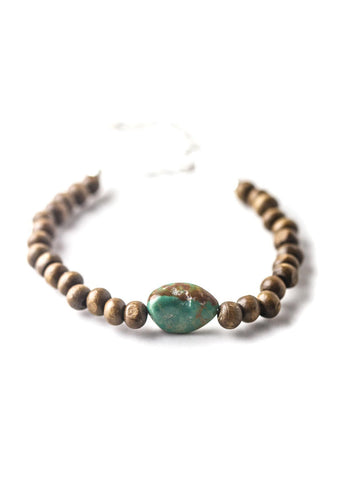 Simple genuine turquoise stone wood beaded bracelet by SoulMakes