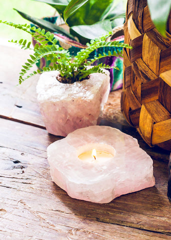 Rose Quartz Slab Candle Holder
