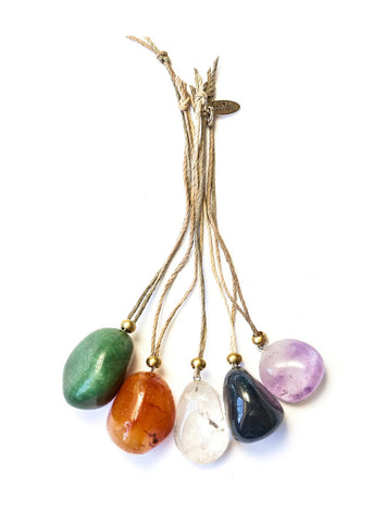 Tumbled Gemstone Ornaments (Set of 5)