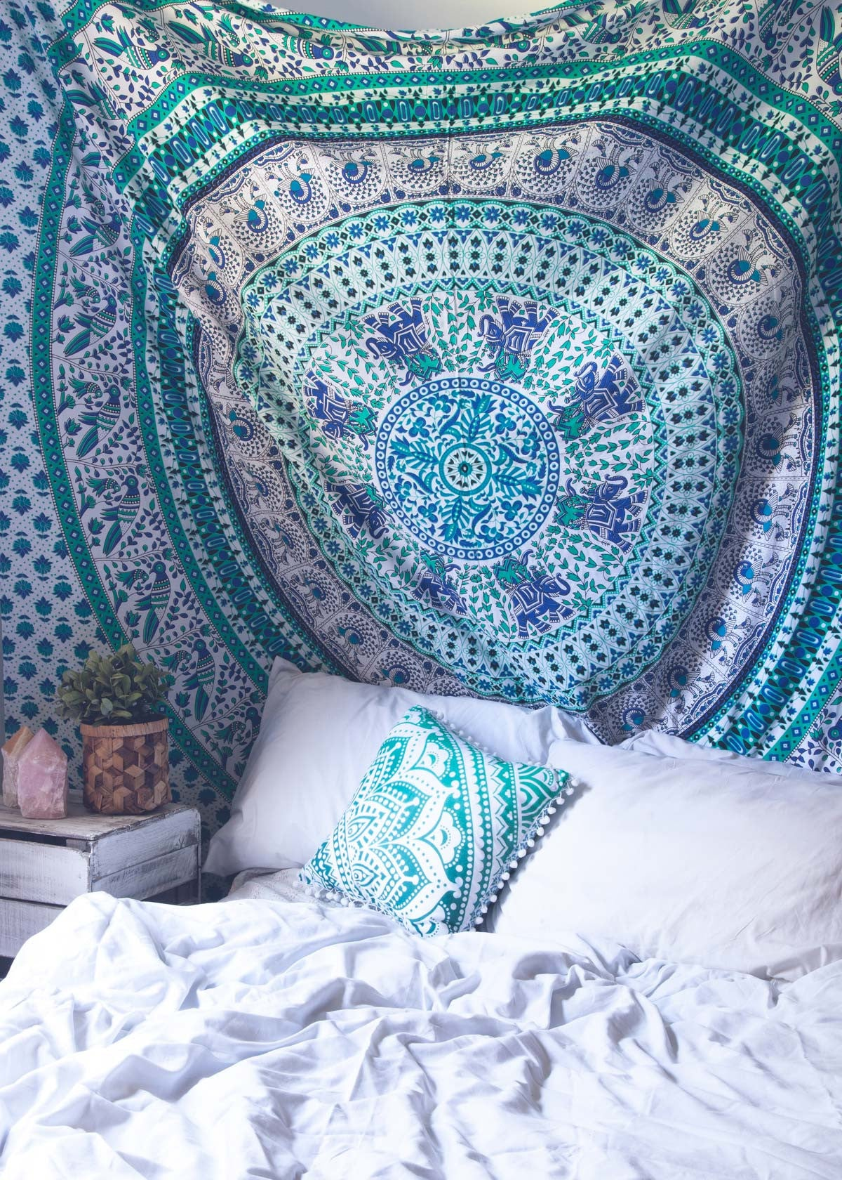 flower medallion tapestry mandala blue sparkly and color product gold ombre com royalfurnish wall trippy