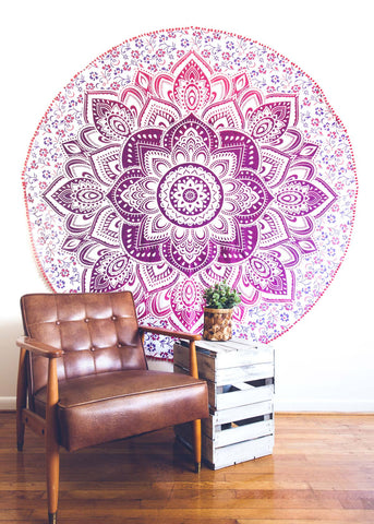 Purple Lotus Medallion Round Tapestry