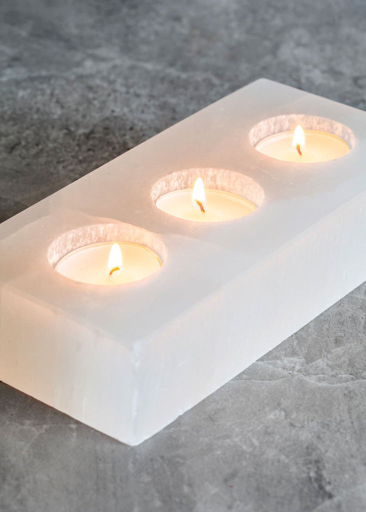 Selenite Bar Triple Candle Holder
