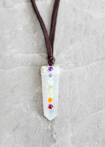 Selenite Chakra Point Leather Necklace