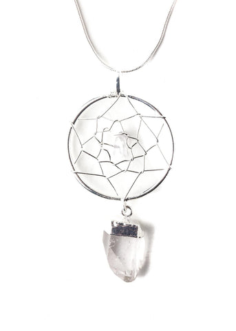 Clear quartz pendant wire wrapped dreamcatcher necklace by SoulMakes