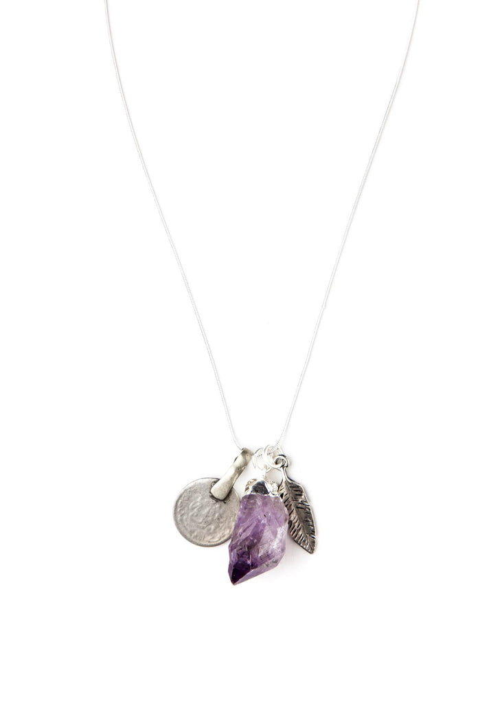 Adina Amethyst Crystal Charm Necklace by SoulMakes 1