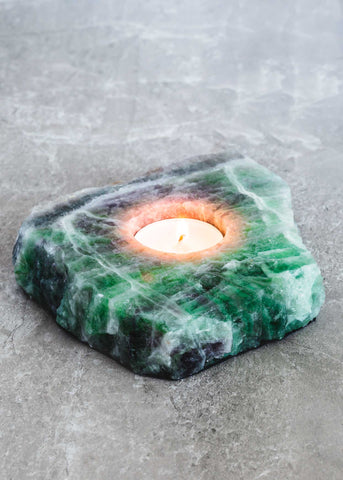 Fluorite Slab Candle Holder