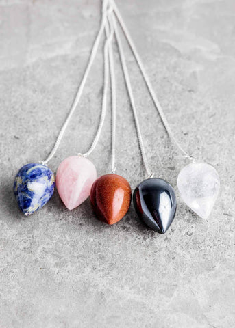 Assorted Gemstone Teardrop Pendulums