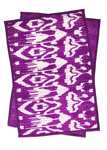 Purple and White Ikat Kantha Placemat Set by SoulMakes