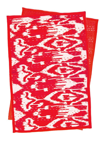 Red and White Ikat Kantha Placemat Set by SoulMakes