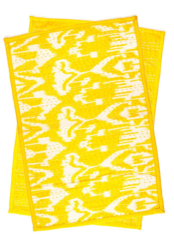 Yellow and White Ikat Kantha Placemat Set by SoulMakes