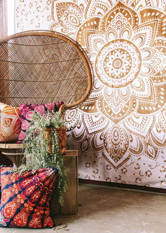 Gold Lotus Medallion Tapestry