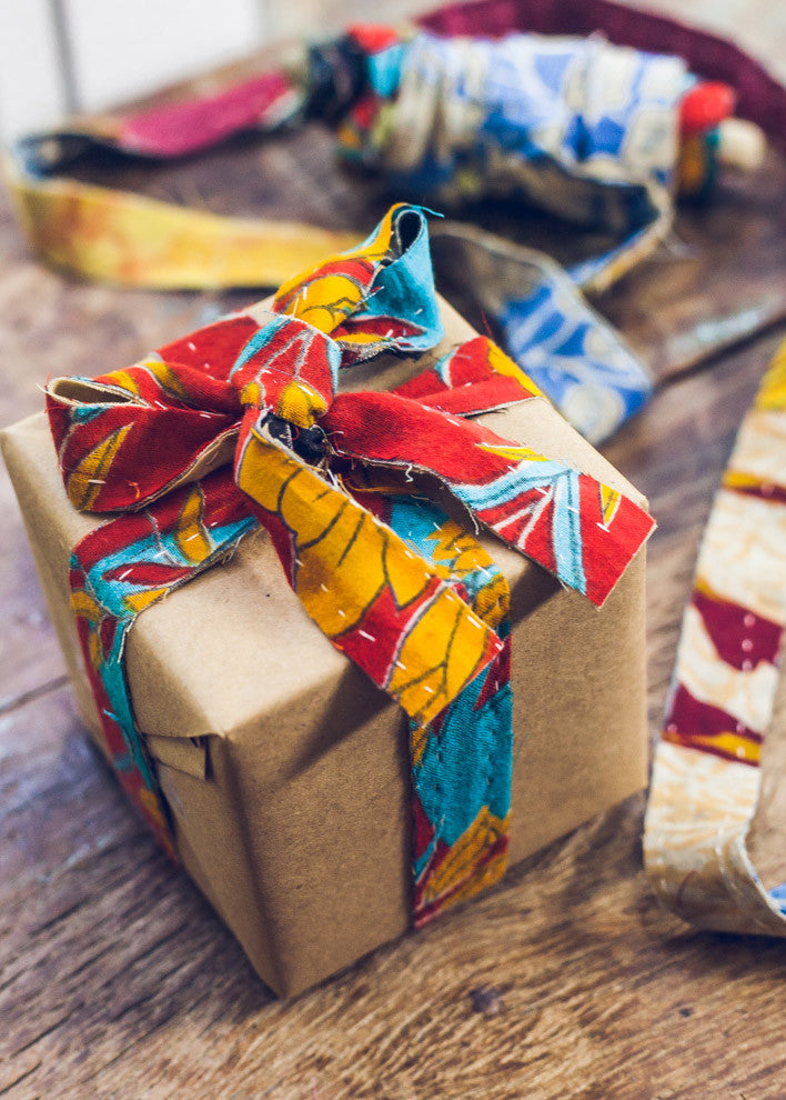 Kantha strip ribbon gift wrapping by SoulMakes